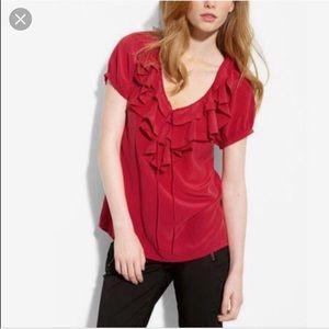 EUC Joie Bittersweet Blouse Red  Ruffles 100% silk